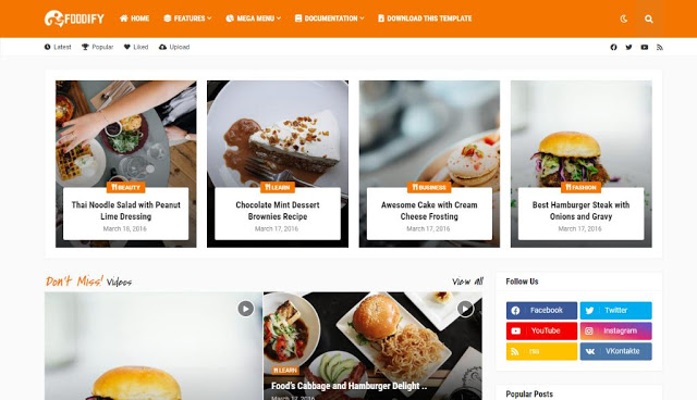 Foodify Blogger Template [ FREE DOWNLOAD] Paid Version