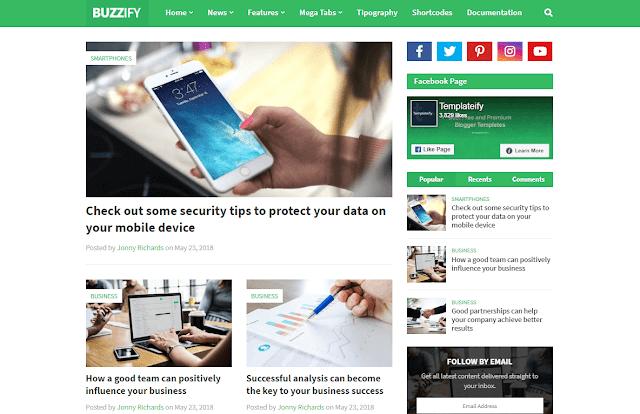 Buzzify - Responsive Blogger Template Download  [ 100% Free ] premium