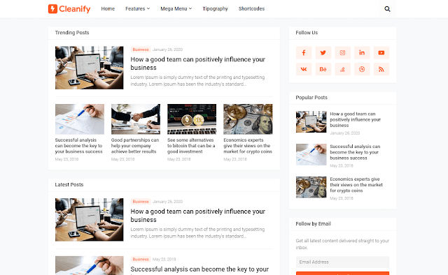 [Paid] Cleanify - Responsive Blogger Template Download