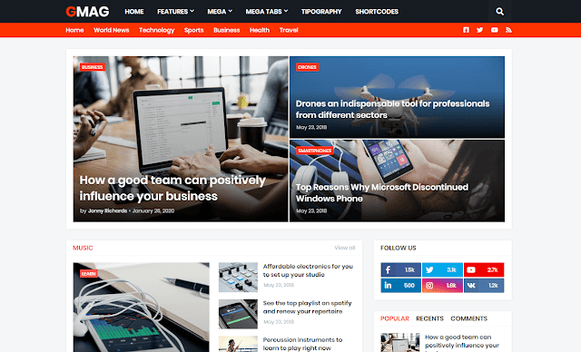 [Paid] GMag Premium Blogger Template Free Download