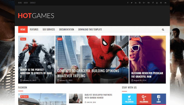 Hot Games Gaming Blogger Template Free Download