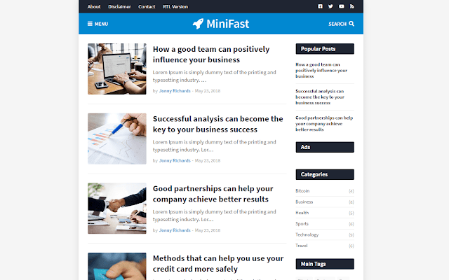 MiniFast - Responsive Blogger Template Free Download