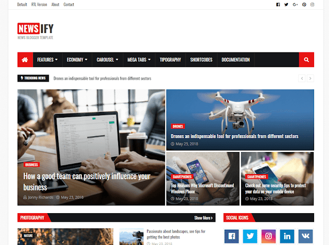 Newsify - Magazine Blogger Template Download [100% FREE ]