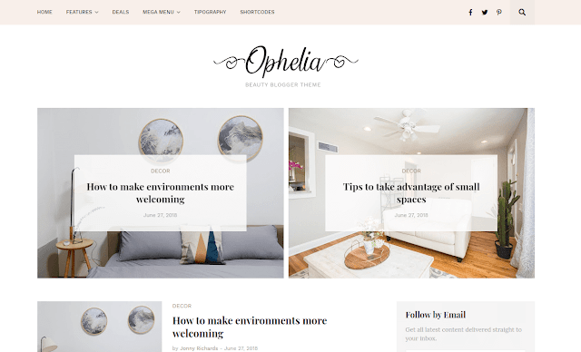 [Paid] Ophelia -Beauty Blogger Template Free Download