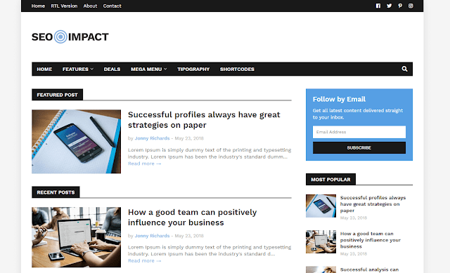 [Paid] SEO Impact - Blogger Template Free Download