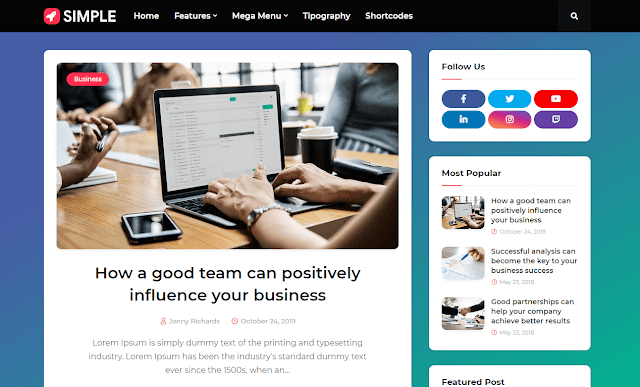 [Paid] Simple - Responsive Blogger Template Free Download