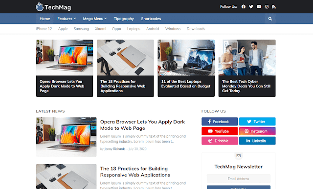 [Paid] TechMag Premium Blogger Template Free Download