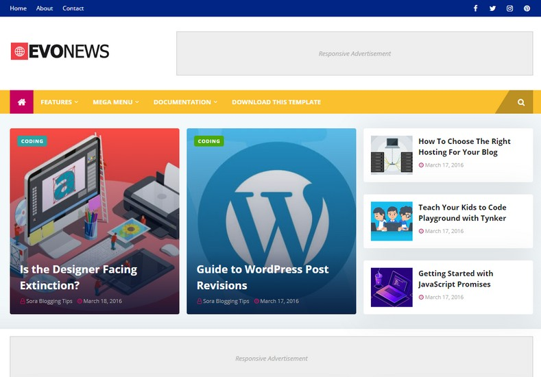 [PAID] EVONEWS BLOGGER TEMPLATE  DOWNLOAD