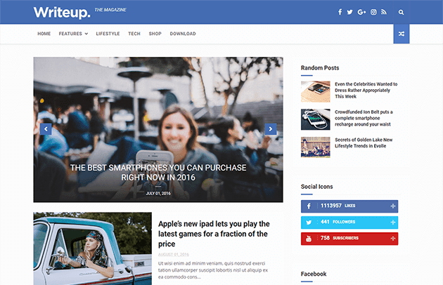 [Paid] WriteUp -News & Magazine Blogger Template Download