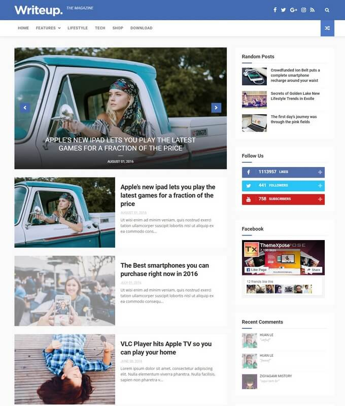 [Paid] WriteUp - News & Magazine Blogger Template Download